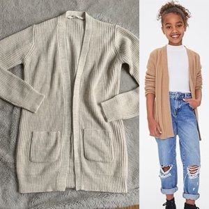 Girls Ribbed Open Front Pocket Cardigan